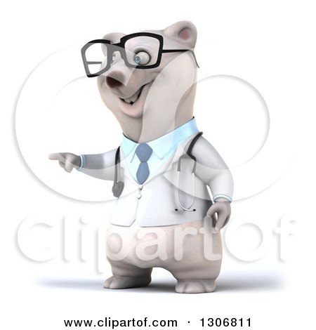 Clipart of a 3d Happy Bespectacled Polar Bear Doctor or Veterinarian Pointing to the Left - Royalty Free Illustration by Julos