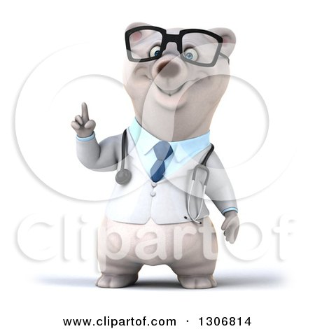 Clipart of a 3d Happy Bespectacled Polar Bear Doctor or Veterinarian with an Idea - Royalty Free Illustration by Julos