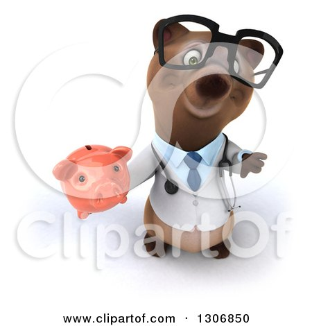 Clipart of a 3d Happy Bespectacled Brown Bear Doctor or Veterinarian Holding up a Thumb down and a Piggy Bank - Royalty Free Illustration by Julos
