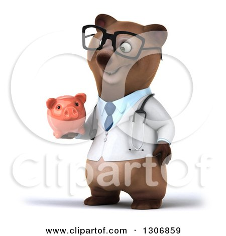 Clipart of a 3d Happy Bespectacled Brown Bear Doctor or Veterinarian Facing Slightly Left and Holding a Piggy Bank - Royalty Free Illustration by Julos