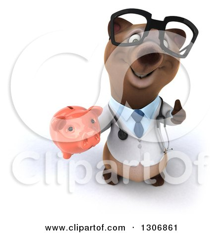 Clipart of a 3d Happy Bespectacled Brown Bear Doctor or Veterinarian Holding up a Thumb and a Piggy Bank - Royalty Free Illustration by Julos