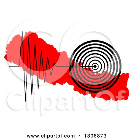 Clipart of a Black Earthquake Tremor Graph over a Red Map of Nepal - Royalty Free Illustration by oboy
