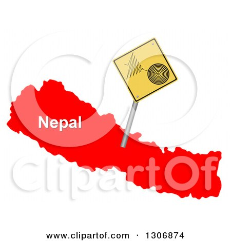 Clipart of a 3d Yellow Earthquake Tremor Warning Sign on a Red Map of Nepal - Royalty Free Illustration by oboy