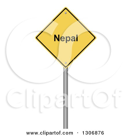 Clipart of a 3d Yellow NEPAL Warning Sign on White - Royalty Free Illustration by oboy