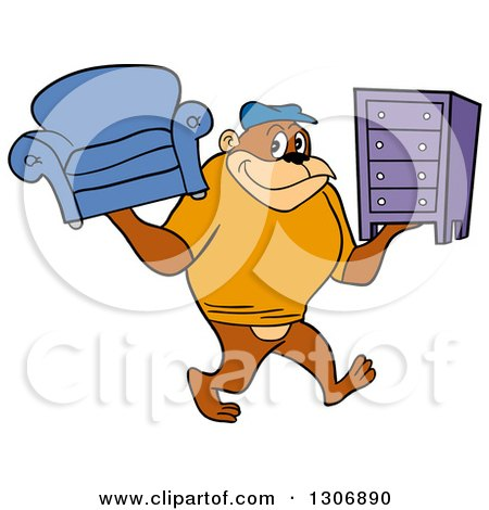 Cartoon Happy Gorilla Mover Carrying a Couch and Dresser Posters, Art Prints