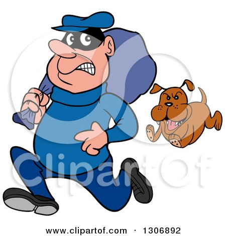 Clipart of a Cartoon Guard Dog Chasing a Robber - Royalty Free Vector Illustration by LaffToon