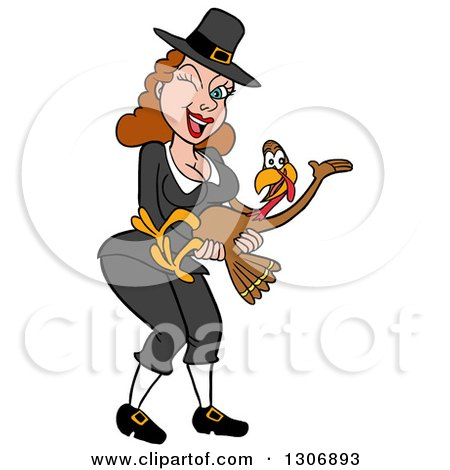 Clipart of a Cartoon Winking Sexy Pilgrim Woman Holding a Turkey Bird - Royalty Free Vector Illustration by LaffToon