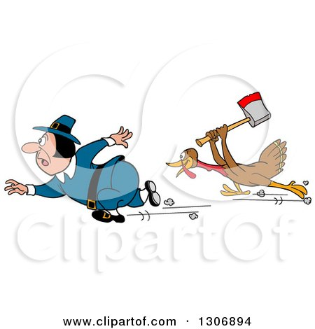 Clipart of a Cartoon Turkey Bird Chasing a Pilgrim with an Axe - Royalty Free Vector Illustration by LaffToon