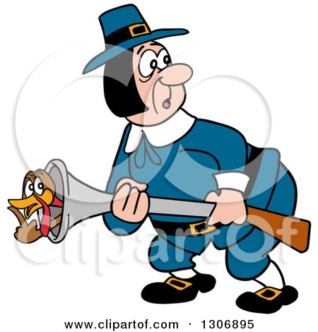 Clipart of a Cartoon Turkey Bird Hiding in a Pilgrim Man's Musket Gun - Royalty Free Vector Illustration by LaffToon