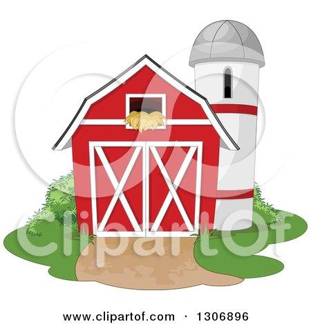 Red Barn With A Hay Loft And Farm Silo Shrubs