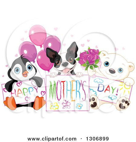 Clipart of a Cute Baby Penguin, Boston Terrier and Polar Bear Cub Holdign Happy Mothers Day Drawings with Balloons, Hearts and Roses - Royalty Free Vector Illustration by Pushkin