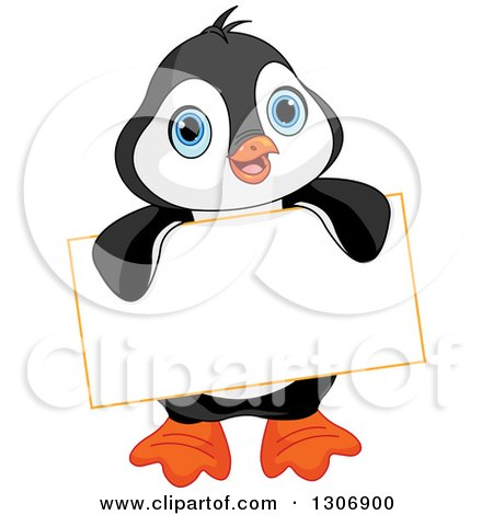 Cute Baby Penguin Holding a Blank Sign Posters, Art Prints