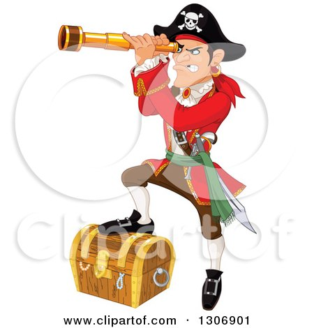Clipart of a Mad Male Pirate Captain Peering Through a Spyglass and Resting a Foot on a Treasure Chest - Royalty Free Vector Illustration by Pushkin