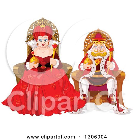 Clipart of a Mean Queen of Hearts and Short King Sitting on Their Thrones - Royalty Free Vector Illustration by Pushkin