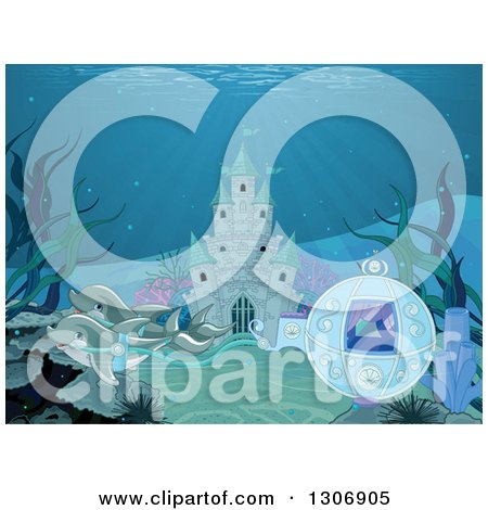 Clipart of Dolphins Pulling a Fantasy Sea Carriage in Front of an Underwater Castle - Royalty Free Vector Illustration by Pushkin