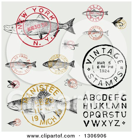 Clipart of Vintage Fish Postmark Stamps and Alphabet Design Elements - Royalty Free Vector Illustration by BestVector