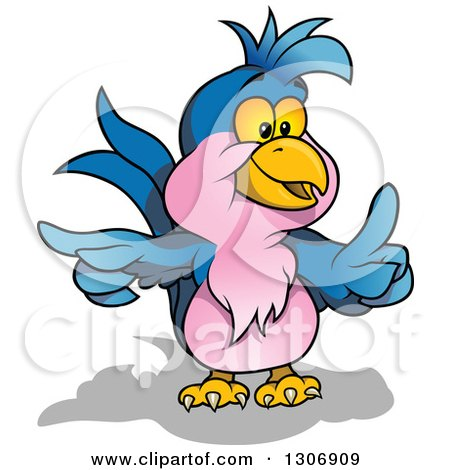 Clipart of a Cartoon Blue and Pink Parrot Holding up a Finger and Pointing - Royalty Free Vector Illustration by dero
