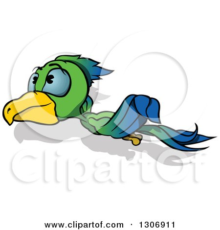 Clipart of a Cartoon Green and Blue Parrot Flying to the Left - Royalty Free Vector Illustration by dero