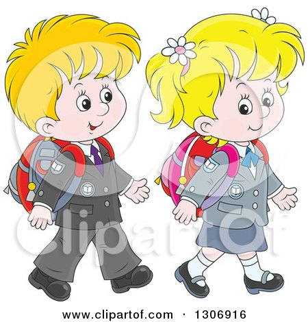 Clipart of Cartoon White Young School Children Walking Together - Royalty Free Vector Illustration by Alex Bannykh