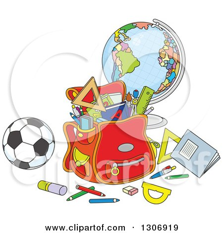 Clipart of a Cartoon School Backpack Bag with Supplies, a Desk Globe and Soccer Ball - Royalty Free Vector Illustration by Alex Bannykh