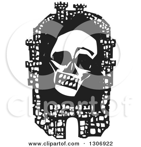 Clipart of a Black and White Woodcut Fortified City with a Death Plague Skull Inside the Walls - Royalty Free Vector Illustration by xunantunich