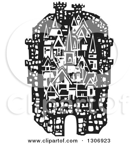 Clipart of a Black and White Woodcut Fortified City - Royalty Free Vector Illustration by xunantunich