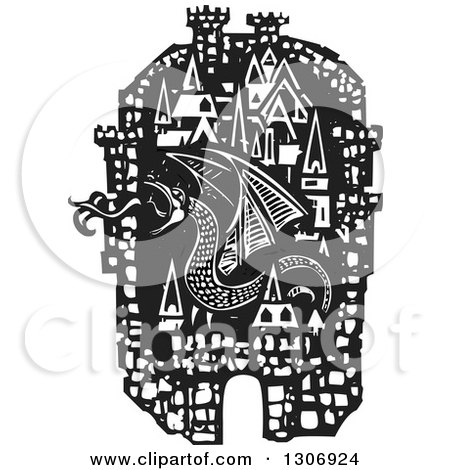 Clipart of a Black and White Woodcut Fortified City with a Fire Breathing Dragon - Royalty Free Vector Illustration by xunantunich