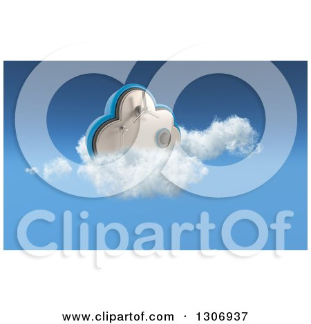 Clipart of a 3d Cloud Vault Safe in the Sky - Royalty Free Illustration by KJ Pargeter