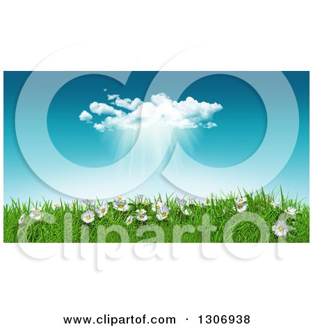 Clipart of a 3d Sunny Spring Day Background with Blue Sky, a Rain Cloud, Daisies and Grass - Royalty Free Illustration by KJ Pargeter