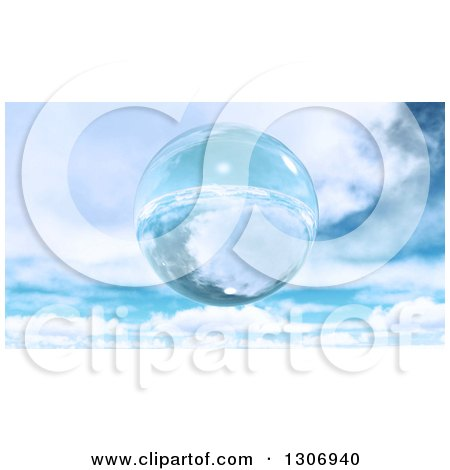 3d Floating Glass Sphere or Bubble Against a Sky with Clouds Posters, Art Prints