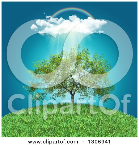 Clipart of a Rainbow, Clouds and Rain over a 3d Walnut Tree on a Grassy Hill - Royalty Free Illustration by KJ Pargeter
