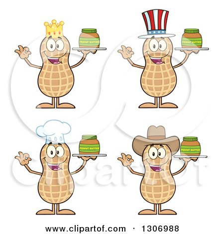 Clipart of Cartoon Happy Peanut Characters Holding Jars - Royalty Free Vector Illustration by Hit Toon