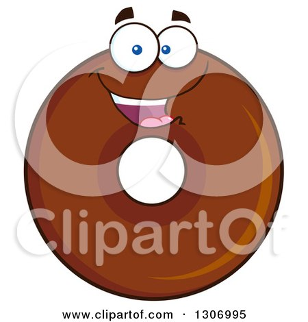 Clipart of a Cartoon Happy Round Chocolate Donut Character - Royalty Free Vector Illustration by Hit Toon