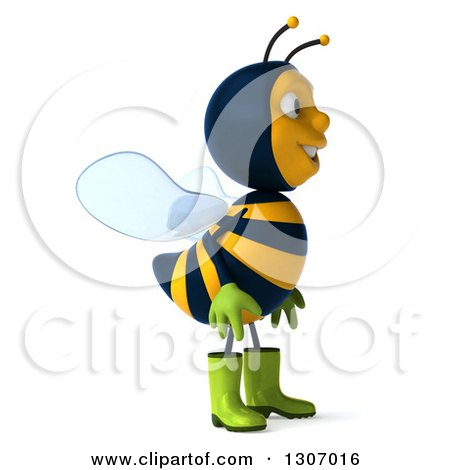 Clipart of a 3d Happy Gardener Bee Facing Right - Royalty Free Illustration by Julos