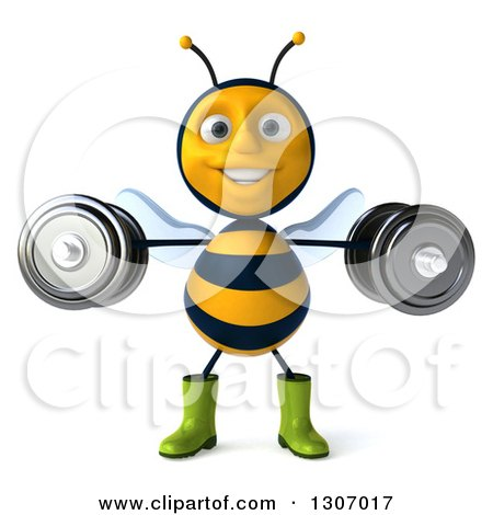 Clipart of a 3d Happy Gardener Bee Working Out, Doing Lateral Raises with Dumbbells - Royalty Free Illustration by Julos