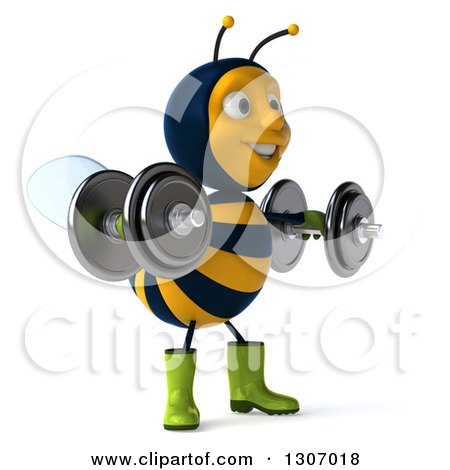 Clipart of a 3d Happy Gardener Bee Facing Slightly Right, Working Out, Doing Lateral Raises with Dumbbells - Royalty Free Illustration by Julos