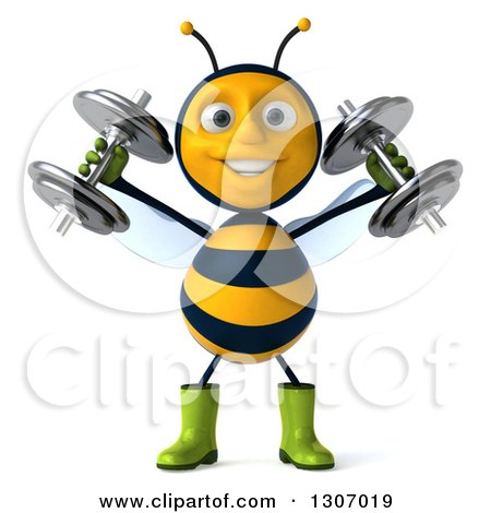 Clipart of a 3d Happy Gardener Bee Working Out, Doing Shoulder Presses with Dumbbells - Royalty Free Illustration by Julos