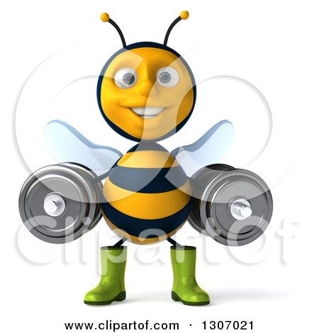 Clipart of a 3d Happy Gardener Bee Working Out, Doing Squats with Dumbbells - Royalty Free Illustration by Julos