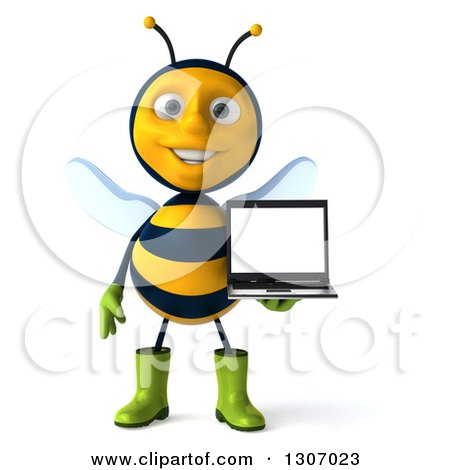 Clipart of a 3d Happy Gardener Bee Holding a Laptop Computer with a Blank Screen - Royalty Free Illustration by Julos