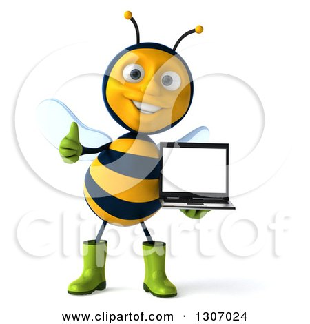 Clipart of a 3d Happy Gardener Bee Giving a Thumb up and Holding a Laptop Computer with a Blank Screen - Royalty Free Illustration by Julos