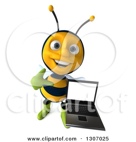 Clipart of a 3d Happy Gardener Bee Holding up and Pointing at a Laptop Computer with a Blank Screen - Royalty Free Illustration by Julos