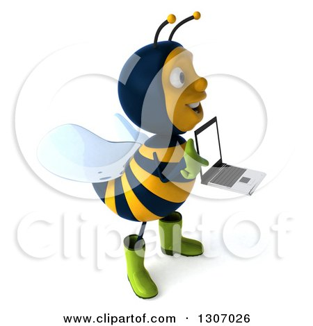 Clipart of a 3d Happy Gardener Bee Facing Right, Holding and Pointing to a Laptop Computer with a Blank Screen - Royalty Free Illustration by Julos