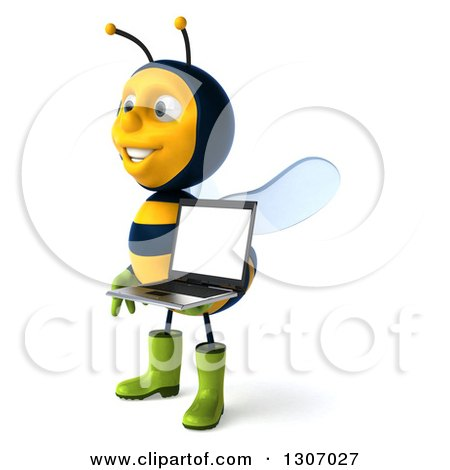 Clipart of a 3d Happy Gardener Bee Facing Left and Holding a Laptop Computer with a Blank Screen - Royalty Free Illustration by Julos