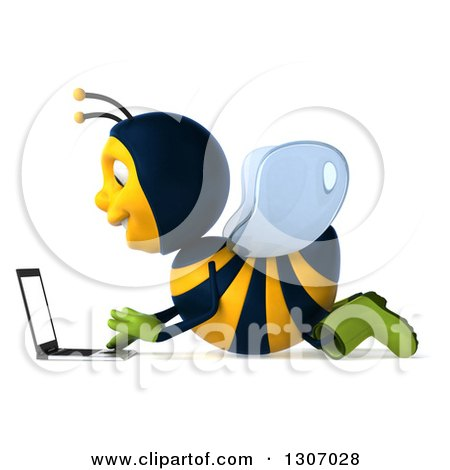 Clipart of a 3d Happy Gardener Bee Facing Left and Using a Laptop Computer on the Floor - Royalty Free Illustration by Julos