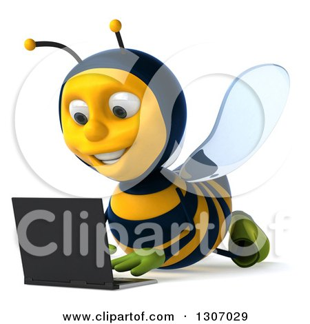 Clipart of a 3d Happy Gardener Bee Using a Laptop Computer on the Floor - Royalty Free Illustration by Julos
