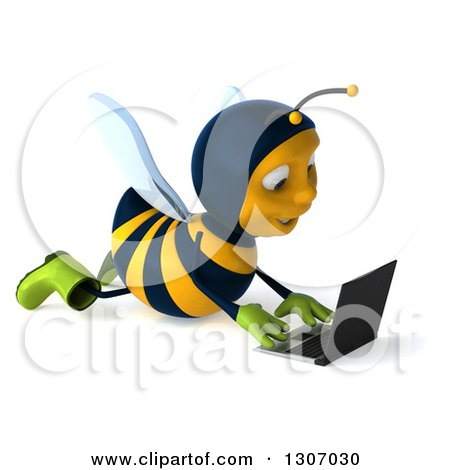 Clipart of a 3d Happy Gardener Bee Facing Right and Using a Laptop Computer on the Floor - Royalty Free Illustration by Julos