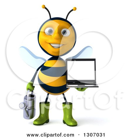 Clipart of a 3d Happy Gardener Bee Holding a Watering Can and a Laptop Computer with a Blank Screen - Royalty Free Illustration by Julos