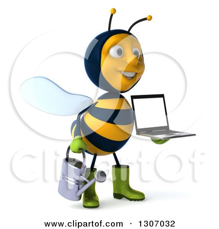 Clipart of a 3d Happy Gardener Bee Facing Slightly Right, Holding a Watering Can and a Laptop Computer with a Blank Screen - Royalty Free Illustration by Julos