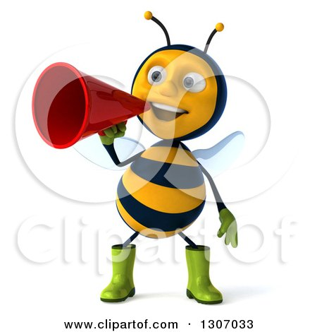 Clipart of a 3d Happy Gardener Bee Announcing with a Megaphone - Royalty Free Illustration by Julos