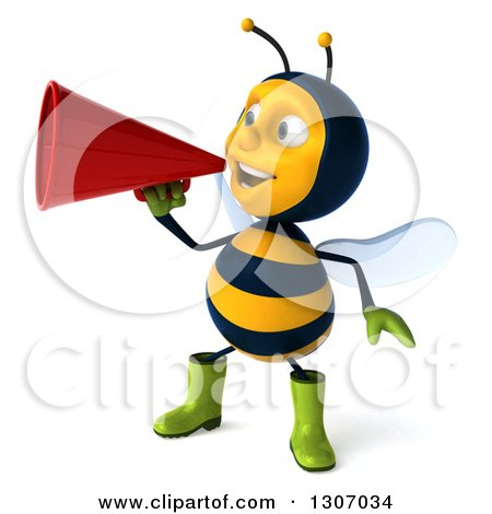 Clipart of a 3d Happy Gardener Bee Facing Slightly Left and Announcing with a Megaphone - Royalty Free Illustration by Julos